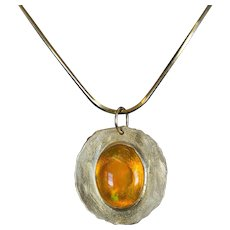 Oval Fire Opal and 14K Yellow Gold Pendant
