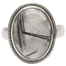 Handcrafted Clear Crystal Quartz with Black Tourmaline in Sterling Silver Ring