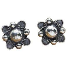 Vintage Sterling Silver Flower Earrings Screwback