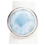 Handcrafted Round Bezel Set Larimar and Sterling Silver Ring