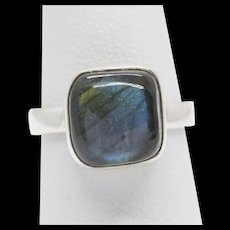 Handcrafted Square Labradorite and Sterling Silver Ring