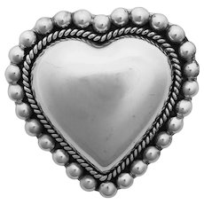 Vintage Taxco Sterling Silver Heart Pin