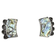 Vintage Taxco Abalone Inlay and Sterling Silver Curved Earrings Screwback