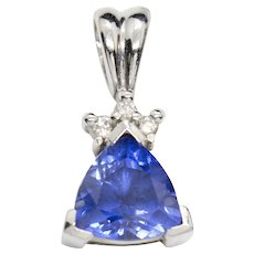 Vintage Synthetic Sapphire and Diamond Pendant in14K White Gold