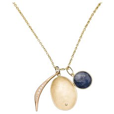 Artisan Sapphire and Diamond in 14K Gold Necklace with Extender 20""