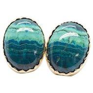 Handcrafted Arizona Azurmalachite Earrings in 14k Sawtooth Bezel