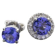 3.28ctw Handcrafted Tanzanite Stud Earrings with Diamond Halo Removable Jackets