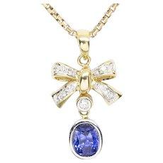 1.25ctw Natural Blue Sapphire and Diamond Ribbon Bow Pendant 18k