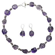 Raw Amethyst Necklace and Earrings Set in Sterling Silver