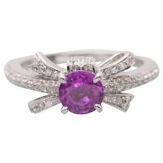 Handcrafted 1.48ct Natural Pink Sapphire and .38ctw Diamond Bow Ring in 14k Engagement