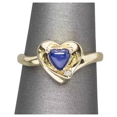 1.00ctw Blue Star Sapphire Heart Shaped 14k Yellow Gold Ring Size 6.5