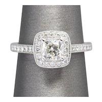1.03ctw Cushion Cut Halo Diamond 14K White Gold Engagement Wedding Anniversary Ring