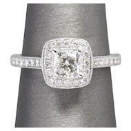 1.03ctw Cushion Cut Halo Diamond 14K White Gold Engagement Wedding Anniversary Ring