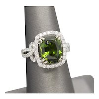 6.00ctw Green Tourmaline and Diamond Ribbon Ring in 18k White Gold