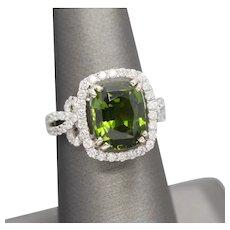 6.00ctw Green Tourmaline and Diamond Ribbon Ring in 18k White Gold