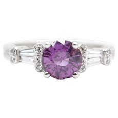 2.05ctw Purple Sapphire and Diamond Engraved Engagement Ring in Platinum
