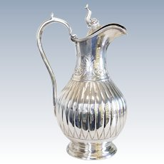 Antique Sterling Silver Claret Jug Pitcher with Koi Lid