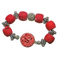 Vintage Red Coral and Sterling Silver Bracelet