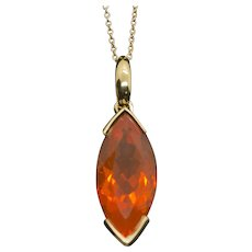 """Handcrafted 5.43ct Fire Opal Marquise Pendant Necklace 16"""" 18k"""