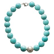 20MM Amazonite and Sterling Silver Large Bead Necklace Made In Italy 225g!