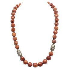 Vintage Moroccan Resin Coated Sponge Coral and Brass Bead Necklace
