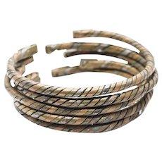 Set of Five (5) Vintage Copper and Steel Twist Cuff Bracelets