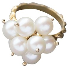 Vintage Akoya Pearl Cluster Charm Dangle Ring 14k Yellow Gold
