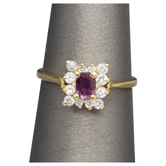 Vintage Classic Ruby and Diamond Petite Ring 14k July Birthday!