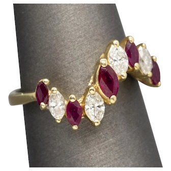 1.00ctw Ruby and Diamond Marquise Wave Curved Band Ring 14k