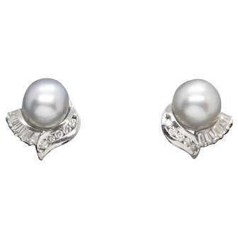 9 to 9.5mm Silver South Sea Pearl and 0.25ctw Diamond Earrings 14k White Gold