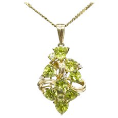 5.00ctw Trillion Peridot and Diamond Cluster Ribbon Pendant Necklace August Birthday! 14k