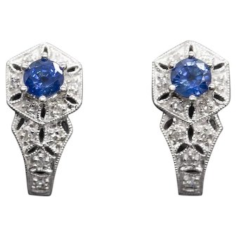 1.00ctw Natural Blue Sapphire and Diamond Hinged Leverback Earrings