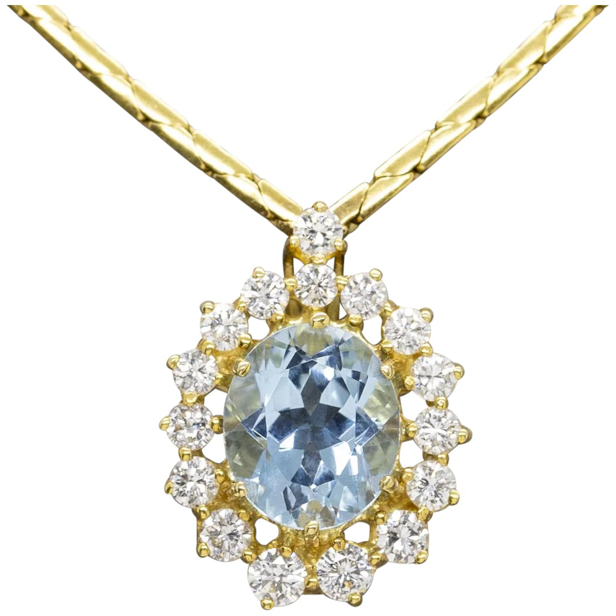Classic Oval Aquamarine And Diamond Pendant Necklace 18k Yellow Gold The Jeweled Crescent Ruby Lane