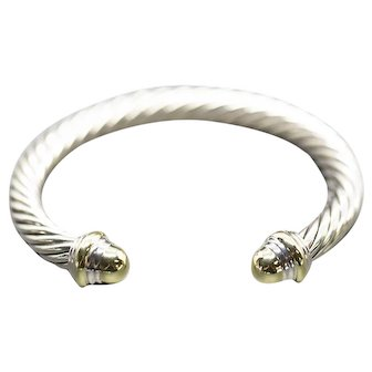 Vintage David Yurman 7mm Sterling Silver and 14k Gold Cap Cable Classics Cuff Bracelet