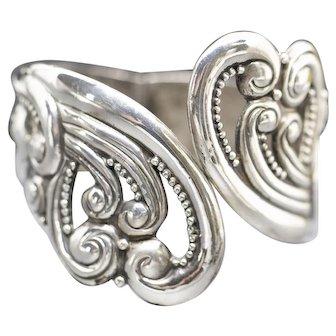 Vintage Jorge Castillo Taxco Mexico Sterling Silver Clamper Scroll Cuff Bracelet