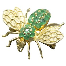 Handcrafted 1.50ctw Natural Emerald Bumble Bee Pin Pendant 14k