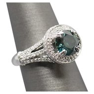 2.79ctw Teal Green and White Diamond Halo Ring 18k White Gold