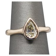 1.06ct Natural Green Diamond Bezel Set Solitaire Ring 14k Rose Gold