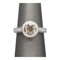 1.65ctw Orange Brown Diamond 18k White Gold White Diamond Halo Engagement Ring