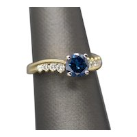 Handmade 1.38ctw Blue Diamond and White Diamond Swirl 18k Yellow Gold Engagement Ring