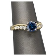 Handmade 1.38ctw Blue Diamond and White Diamond Swirl 18k Yellow Gold Engagement Ring