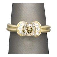 Handmade 0.88ctw Orange Brown Round Diamond Engagement Ring 18k 4.5g