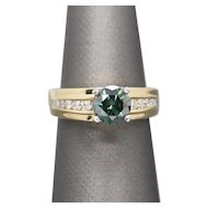 Handcrafted 1.57ct Green and White Diamond Engagement Ring 18k
