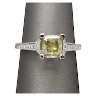 1.49ctw Deep Greenish Yellow and White Diamond Engagement Ring 18k