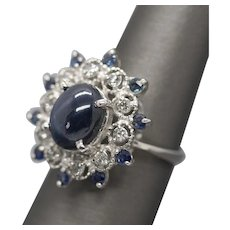 6.42ctw Blue Star Sapphire and Diamond Ring Oval Cabochon 14k Statement Ring
