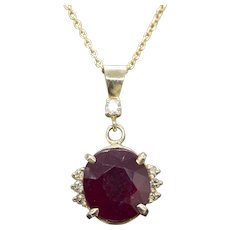 9.44ctw Rich Red Ruby and Diamond 14k Gold Pendant