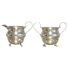 Sterling Silver Sugar Bowl and Creamer with Claw Feet