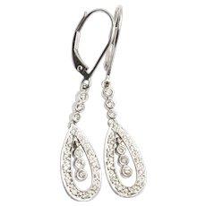 G SI2 Teardrop .33ctw Diamond Dangle Leverback Earrings 14k, Handmade in USA