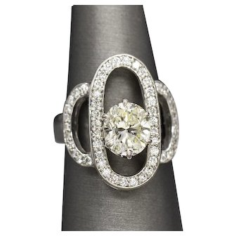 2.55ctw Oval Diamond Cocktail Anniversary Wedding Ring in 14k White Gold