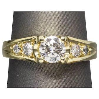 0.74ctw G SI1 Diamond Euro Shank Engagement Ring 18k Yellow Gold